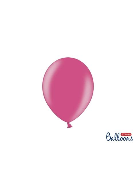 50 balões extra resistentes cor-de-rosa metalizado (23 cm)