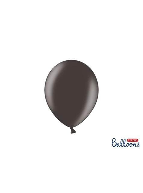100 Sterke Ballonnen in Metallic Zwart, 23 cm