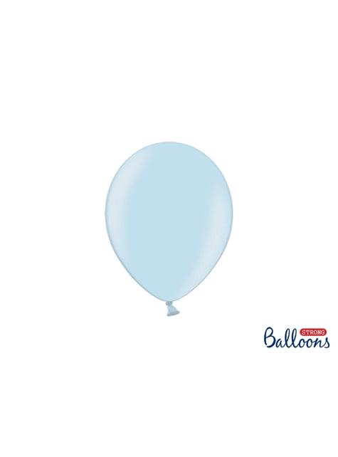 100 extra sterke ballonnen in metallic licht pastel blauw (23 cm)