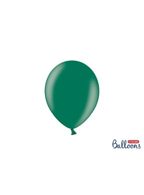 100 globos extra resistentes verde botella metalizado (23 cm)