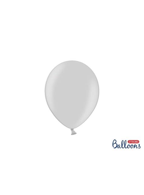 100 globos extra resistentes gris brillante (23 cm)