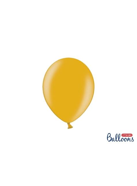 100 globos extra resistentes dorado metalizado (23 cm)