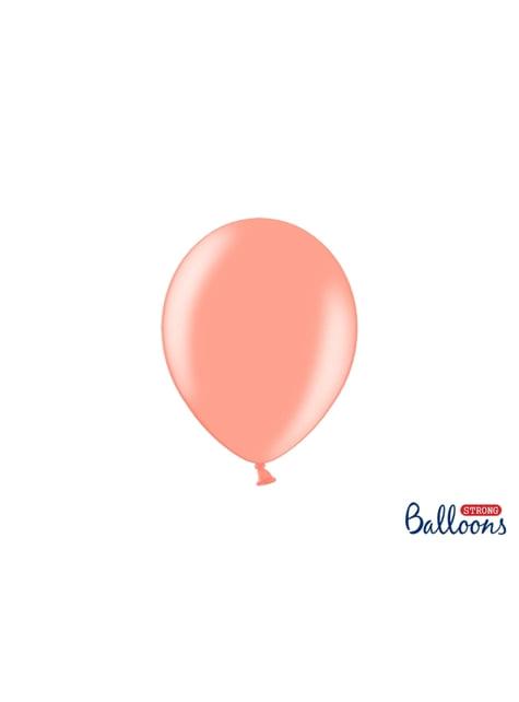 50 balões extra resistentes rosa dourado metalizado (23 cm)