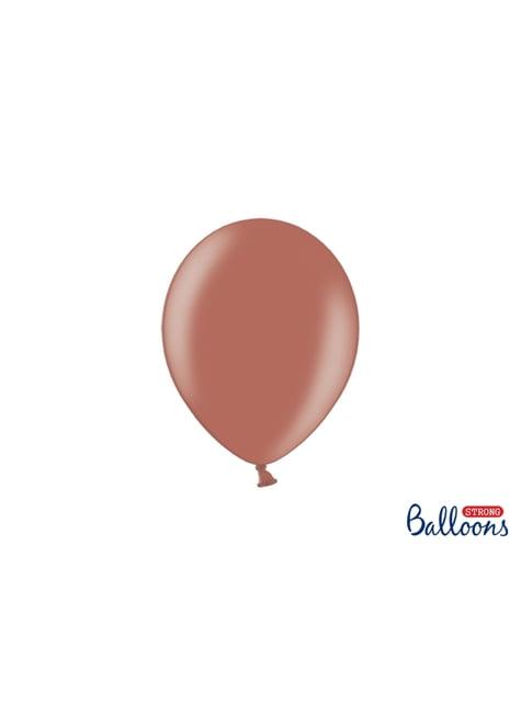 100 globos extra resistentes marrón tierra metalizado (23 cm)