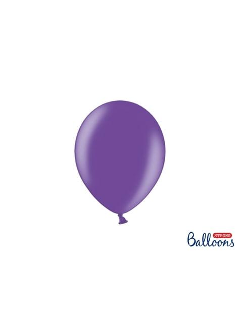 100 Sterke Ballonnen in Metallic Licht Paars, 23 cm