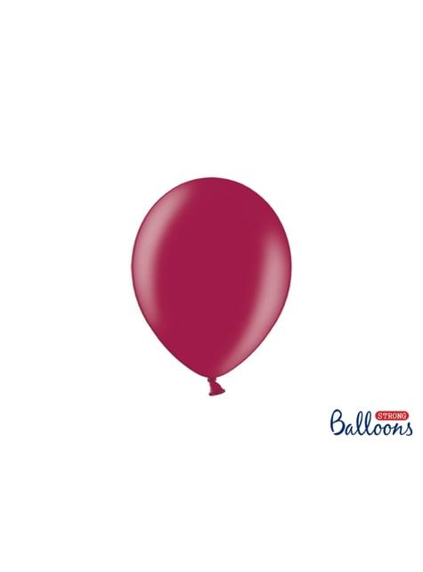 100 Sterke Ballonnen in Metallic Bordeaux, 23 cm