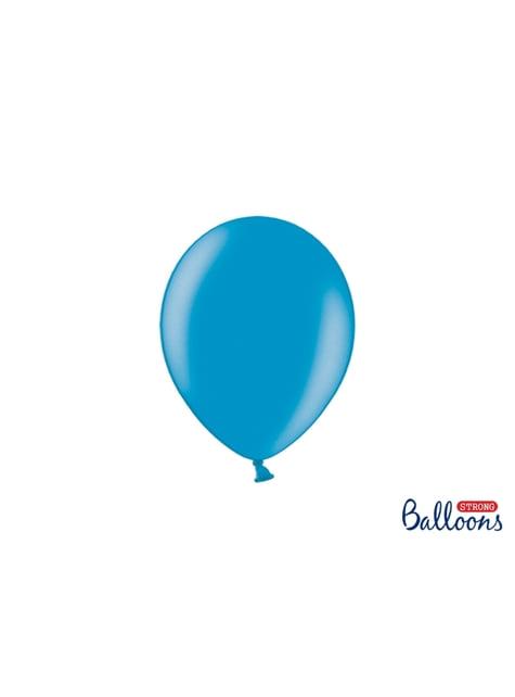 100 Sterke Ballonnen in Metallic Licht Turquoise, 23 cm
