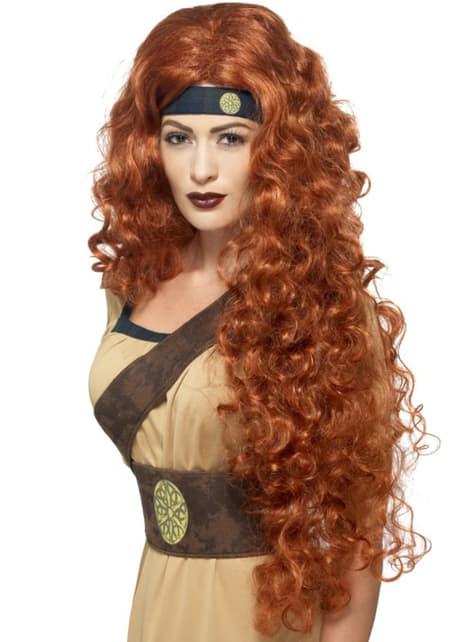 Peluca guerrera medieval pelirroja para mujer