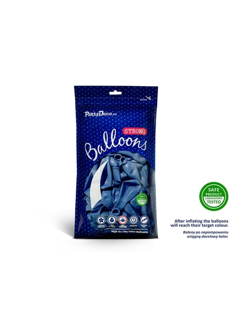 100 extra sterke ballonnen in metallic donkerblauw (23 cm)