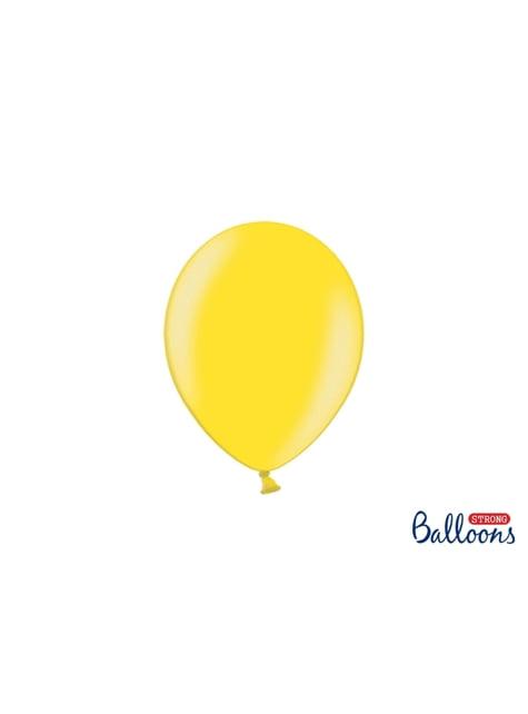 100 globos extra resistentes amarillo claro metalizado (23 cm)
