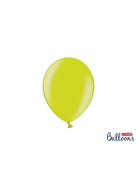 100 extra sterke ballonnen in metallic helder limoen groen (23 cm)