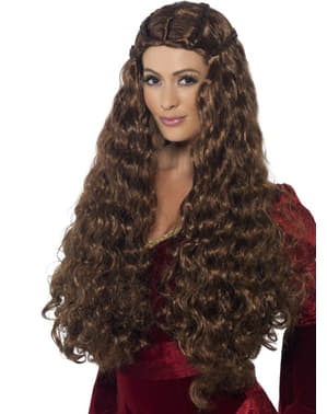 Peruca princesa medieval para mulher