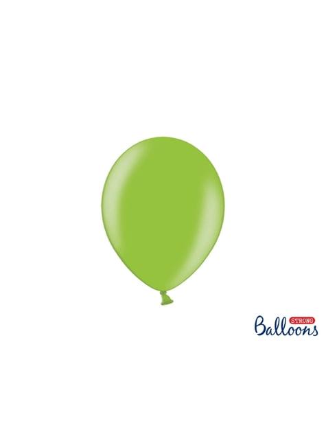 100 globos extra resistentes verde brillante metalizado (23 cm)