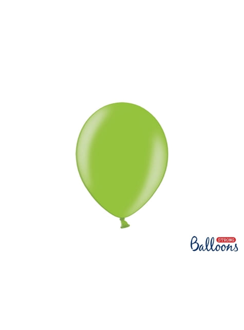 50 globos extra resistentes verde brillante metalizado (23 cm)