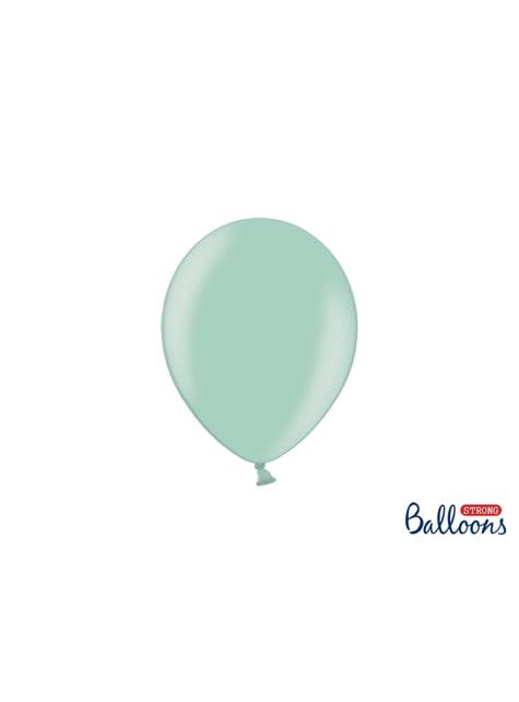 100 extra sterke ballonnen in metallic bleek mint groen (23 cm)