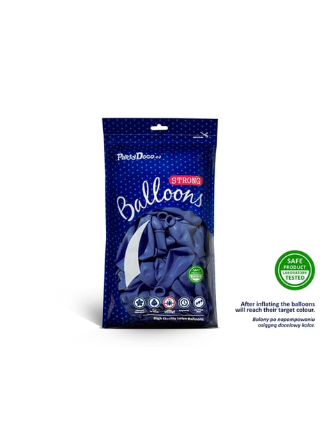 100 globos extra resistentes azul marengo metalizado (23 cm)