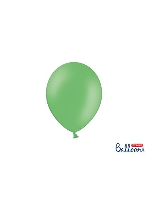100 globos extra resistentes verde pastel metalizado (23 cm)