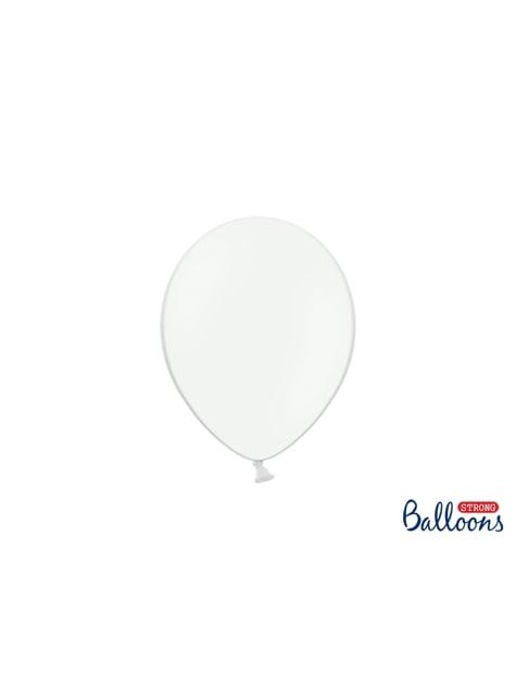 50 globos extra resistentes blanco metalizado (23 cm)
