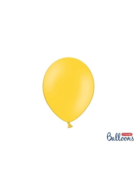 100 globos extra resistentes amarillo metalizado (23 cm)