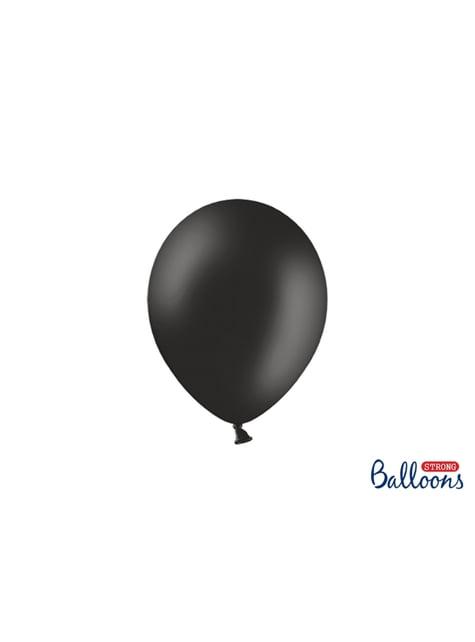 100 Sterke Ballonnen in Metallic Pastel Zwart, 23 cm