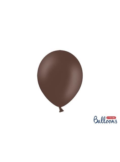 100 silných balónků v tmavěhnědé matné barvě, 23 cm