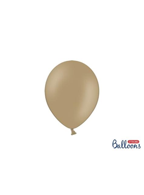 100 extra sterke ballonnen in metallic licht bruin (23 cm)