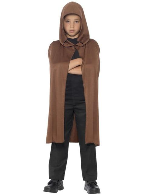 Capa marrón con capucha para niño