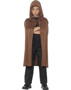Brown Hooded Cape for Boys