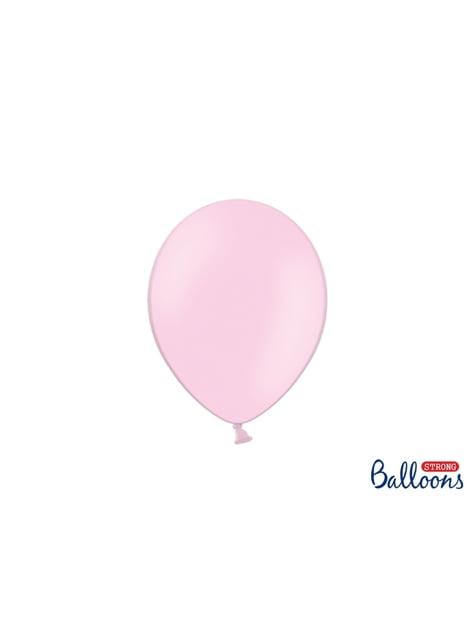 100 globos extra resistentes rosa bebé metalizado (23 cm)