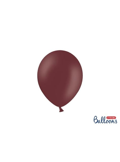 100 extra sterke ballonnen in metallic donker kastanjebruin (23 cm)