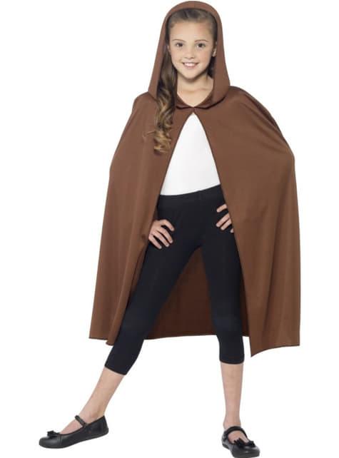 Capa marrón con capucha para niño - para tu disfraz