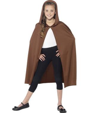 Mantello marrone con cappuccio per bambino