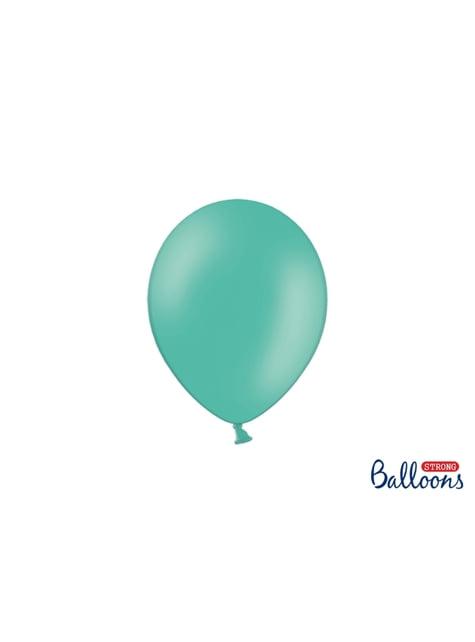 100 ballons extra résistants bleu aigue-marine métallisé (23 cm)