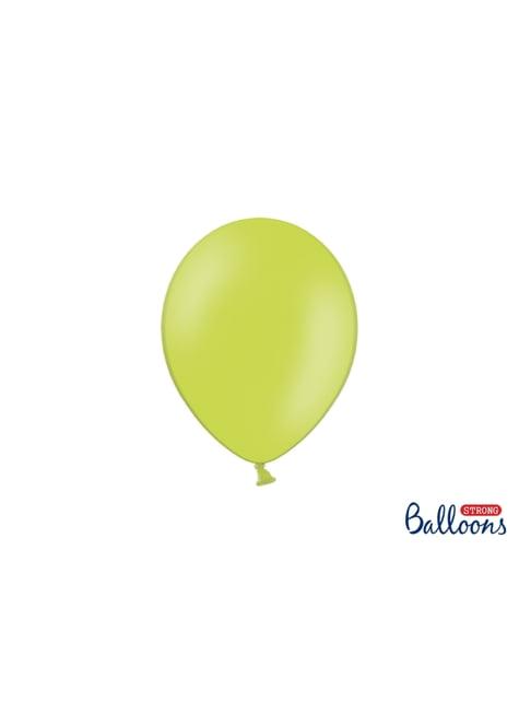 100 extra sterke ballonnen in metallic limoen groen (23 cm)