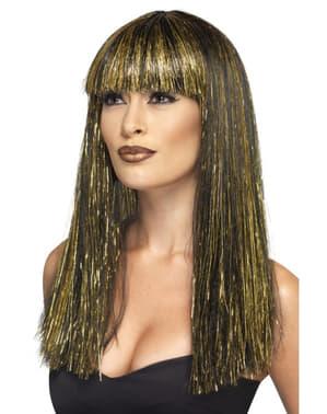 Peluca de diosa egipcia morena y dorada