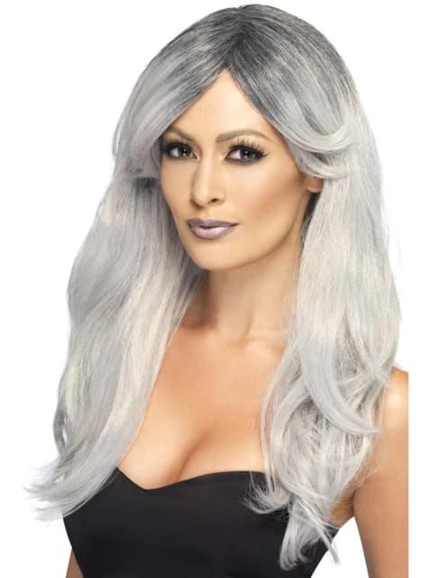Peluca fantasmal color gris para mujer