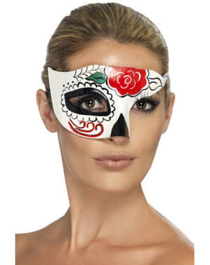 Day of the dead half eye mask for a woman