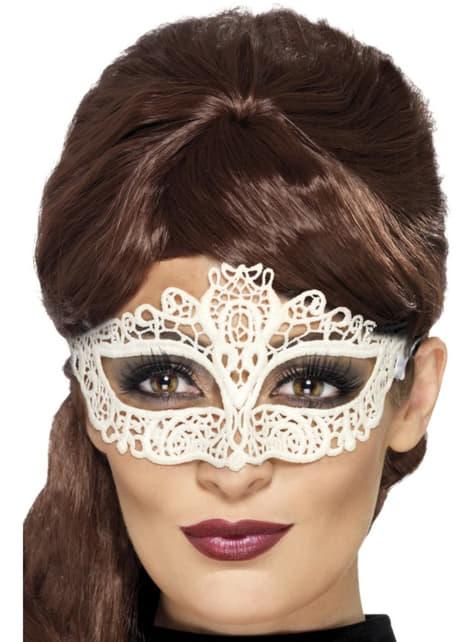 White Venetian Carnival Eye Mask for Women