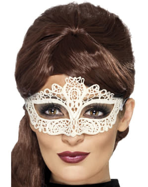 White Venetian Carnival Eye Mask for Women