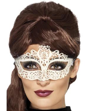Loup carnaval vénitien blanc femme