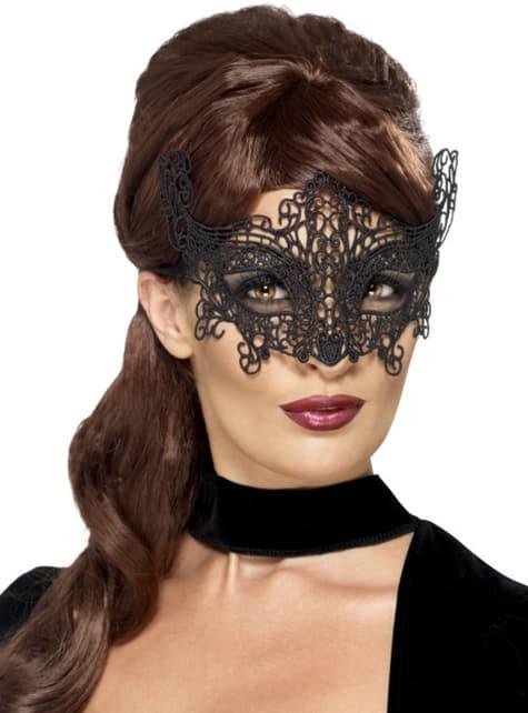 Maska na oczy glamour koronka czarna damska
