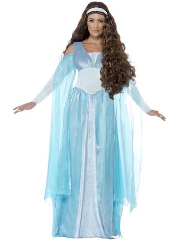 disfraz de doncella medieval azul para mujer funidelia