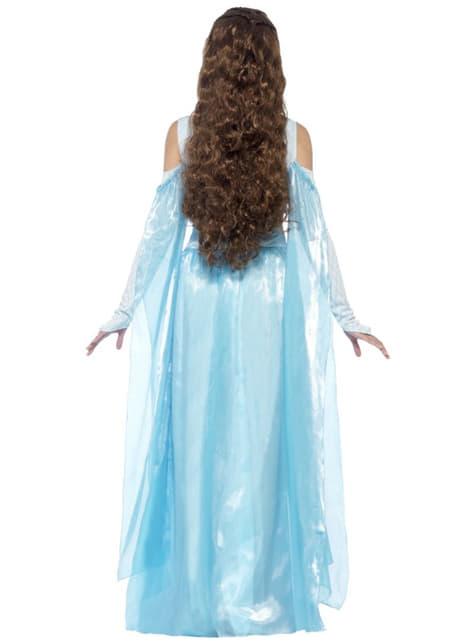 Disfraz de doncella medieval azul para mujer