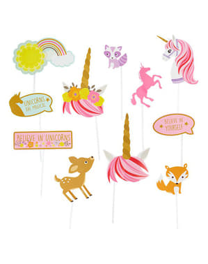 12 Princess Unicorn photo booth accessories - Pretty Unicorn