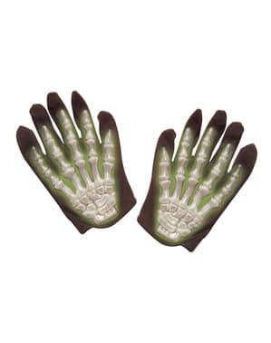 Gants squelette fluorescents
