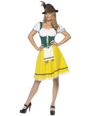 Costum Oktoberfest galben cu verde pentru femeie