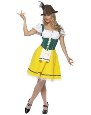 Żółto-zielony Strój na Oktoberfest dla kobiet