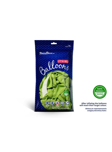 50 globos extra resistentes verde lima metalizado (23 cm)