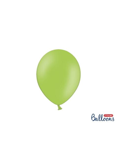 100 extra sterke ballonnen in pastel limoen groen (23 cm)