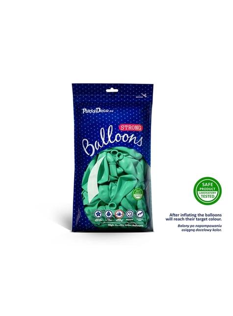 100 globos extra resistentes verde menta metalizado (23 cm)